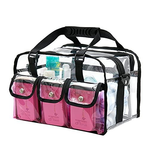 LUVODI Bolsa de maquillaje transparente con correa de hombro extraíble, organizador de tocador de PVC con 3 bolsillos externos, grande