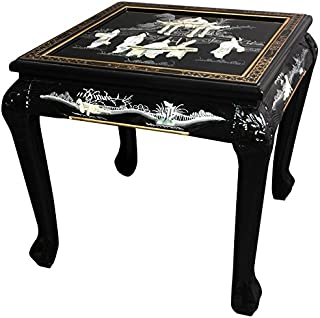 Oriental Furniture Claw Foot End Table - Black Mother of Pearl Ladies