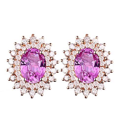 Beydodo Pendientes de Mujer Oro Rosa,Pendientes Oro Rosa 18k Flor con Diamante y Zafiro Rosa 2ct