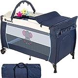 TecTake Cuna infantil de viaje portátil altura ajustable con acolchado para bebé - disponible en diferentes colores - (Azul | No. 402201)