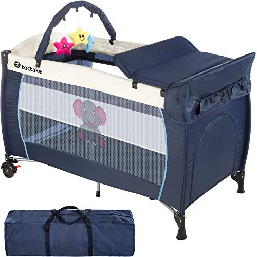 TecTake Kinder Reisebett höhenverstellbar mit Babyeinlage - diverse Farben - (Blau | Nr. 402201)
