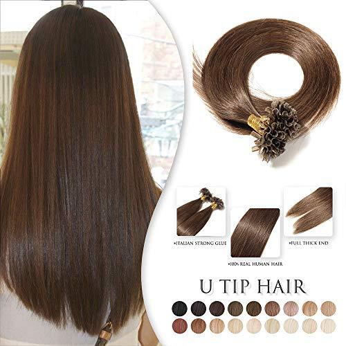 TESS Extensions Echthaar Bondings 100 Strähnen - 100% Remy Echthaar guenstig U Tip Keratin Haarverlängerung 0,5g (#4 Schokobraun, 55cm, 50g)