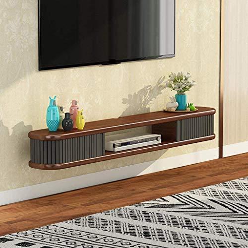 Soporte flotante para TV de pared con almacenamiento abierto, estantería de pared para audio/videoconsolas de TV, armario para cables, router, remoto, reproductor de DVD y consolas de videojuegos