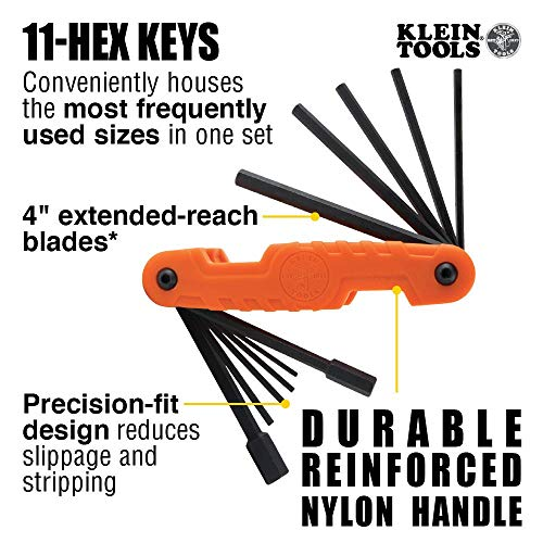 Klein Tools 70550 Hex Key Set, 11 SAE Sizes, Heavy Duty Folding Allen Wrench Tool with Extra Long Hex Keys