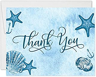 Beach Sea Shore Thank You Cards with Envelopes (Pack of 50) All Occasion Blank Folded Thank You Notes Birthday Anniversary Retirement Dinner Party Thanks Excellent Value Nautical Notecards VT0059