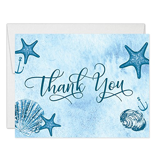 Beach Sea Shore Thank You Cards with Envelopes (Pack of 25) All Occasion Blank Folded Thank You Notes Birthday Anniversary Retirement Dinner Party Thanks Excellent Value Nautical Notecards VT0059B