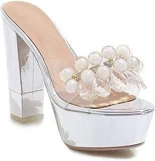 MIOKE Womens Chunky Platform Block High Heel Sandals Clear Crystal Open Toe Comfy Wedge Dress Pump Sandal