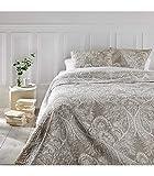 Ensemble dessus de lit matelassé avec ses 2 housses de coussin - Grande taille - Coloris Beige