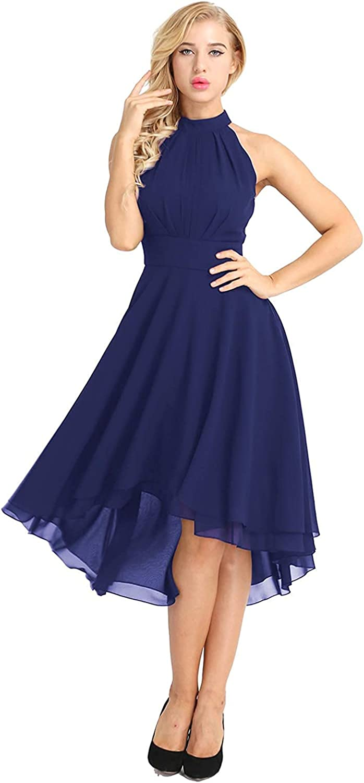 Women's Vintage Halter-Neck Chiffon Homecoming Cocktail Dress Sleeveless Hi-Low Bridesmaid Dress
