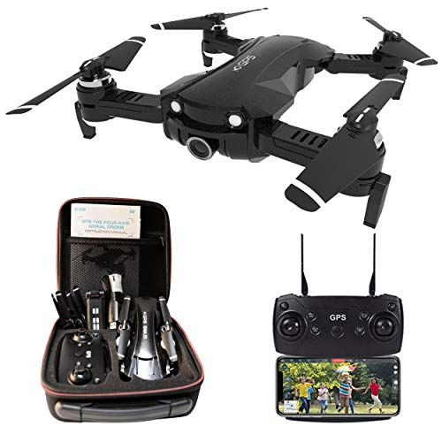 Drone con Camara 4K HD, Drones con Camara Profesional Estabilizador GPS, 5GHz WiFi FPV Drone Tiempo Real, Largo Tiempo de Vuelo Drone 15 Minutos Drone Plegable RC