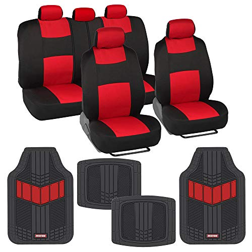 BDK Two-Tone PolyCloth Car Seat Covers Full Set Combo with Motor Trend Dual-Accent Heavy Duty Rubber Floor Mats, Black & Red – Universal Fit for Car Truck Van SUV