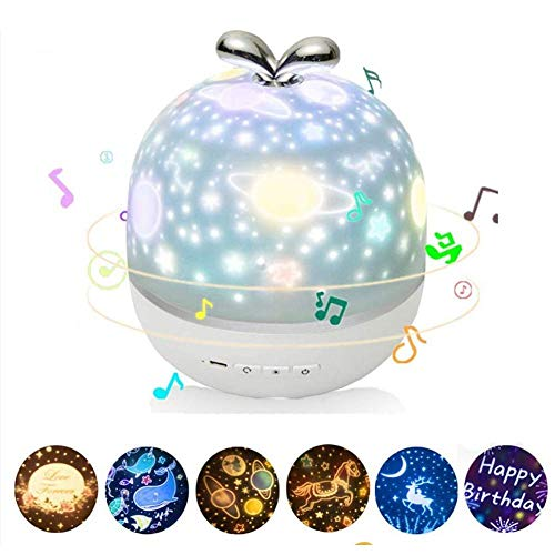 LIHONG Projecteur Night Light with Music, 6 Patterns, 3 Modes, Bluetooth Music Gift Pack, It Can Be Used As A Gift for Children, Couples and Friends