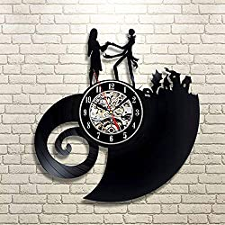 Love Story Vinyl Record Wall Clock, Edward Hands Scissors Wall Clock, Romantic Story Wall Art Room Handmade Decoration Art, New Year Gifts for her