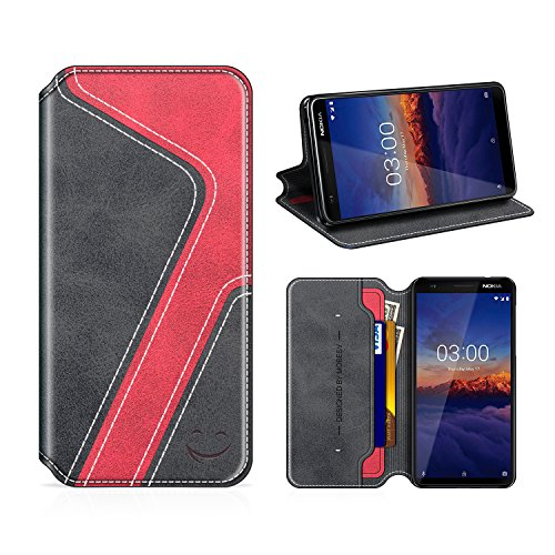 MOBESV Smiley Nokia 3.1 Hülle Leder, Nokia 3.1 Tasche Lederhülle/Wallet Hülle/Ledertasche Handyhülle/Schutzhülle für Nokia 3.1, Schwarz/Rot