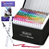 172 Colors Dual Tip Alcohol Based Art Markers,171 Colors plus 1 Blender Permanent Marker 1 Marker Pad with Case Perfect for Kids Adult Coloring Books Sketching and Card Making