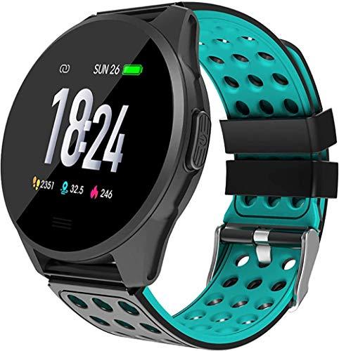 TYUI Reloj deportivo inteligente con monitor de ritmo cardíaco y sueño, monitor inteligente con podómetro impermeable IP67, apto para hombres y mujeres, color azul