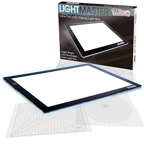 US ART SUPPLY Lightmaster 32.5' Extra Large(A2) 17'x24' LED Lightbox Board Ultra-Thin 3/8' Light Box Pad and 110V AC Power Adapter Dimmable LED with Measuring Overlay Grid & Circle Template/Protractor