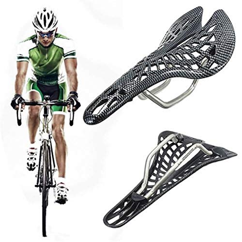 Mikeson Carbon Fiber Mountain Racing Bike Cycling Bicycle Hollow Saddle Seat Shock Absorbing Hollow Breathable Cycling Seat (Color : A)