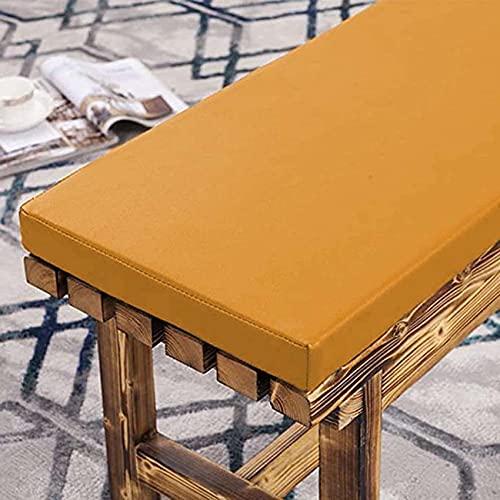 Waigg Kii Cojín de cuero para banco al aire libre, 2/3 plazas, impermeable, cojín de banco de jardín, cojín largo para silla para patio o comedor (90 × 30 × 5 cm, amarillo)