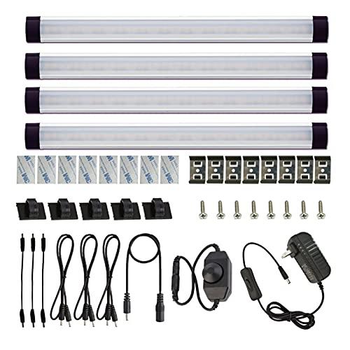 Kit de luz de Barra de gabinete rígido DIRIGIÓ Luz de Barra con Interruptor de atenuador para la Barra de iluminación de gabinetes de Cocina con Muebles de Contador (4 Paneles)