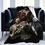 Freddy Krueger Jason Halloween Fleece Blanket Ultra-Soft Micro Blankets for Couch Bed Or travl Soft and Warm Throw Blanket (60'x50') Medium-Size for Teens