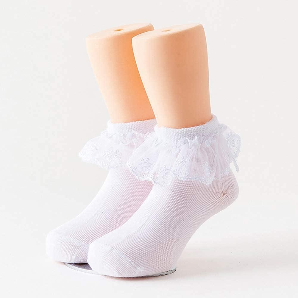 5 Pack Baby Toddler Girls Ruffle Socks White Princess Eyelet Frilly Lace Ankle Cotton Dress Socks for Little/Big Kids