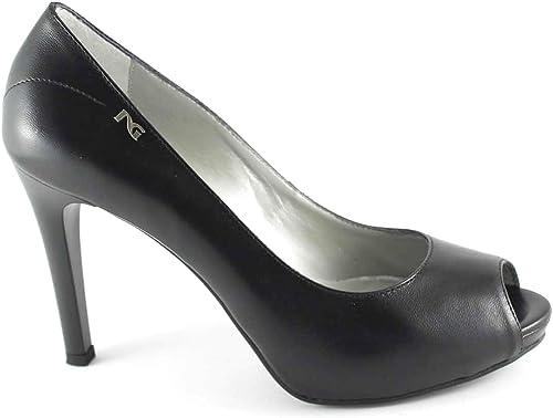 NOIR JARDINS 15381 chaussures de femme noire dcollet surgi en cuir à talons 38