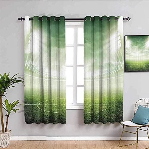 LucaSng Blackout Curtain Thermal Insulated - Green sky field stadium - 72x63 inch for Bedroom Kitchen Living Room Boy Girl Window - 3D Digital Printing Eyelet Ring Curtain