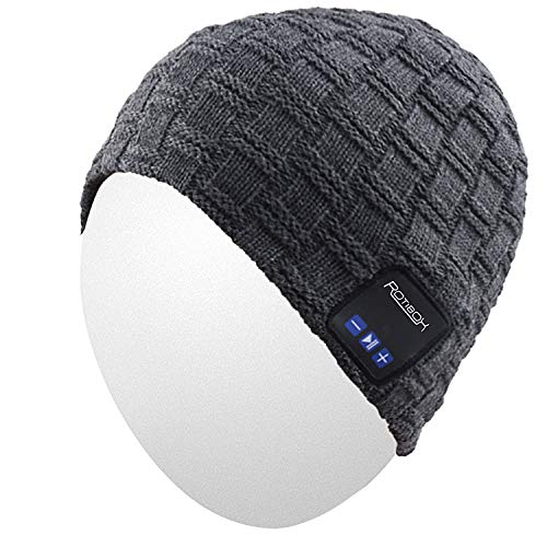 Qshell Winter Trendy Short Wireless Bluetooth Beanie Hat Cap for Men Women with Stereo Headphones Headsets Speakers Hands-free Call for Outdoor Sports Gym Skiing Skating Walking,Christmas Gifts - Gray