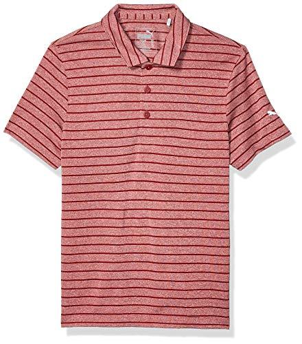 PUMA Golf 2019 Mädchen 1/4 Zip, Jungen, Polo, 2019 Rotation Stripe Polo, Rhabarberfarben, Small