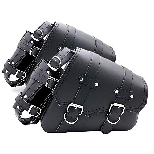 LuckyMAO Cover and Mouldings Motorcycle Leather Saddle Bag Tool Bag Fit For Honda Shadow Spirit Aero Ace VT700 VT750 VT1100 Yamaha V-Star XVS 650 1100 Custom (Color : Left and Right side)
