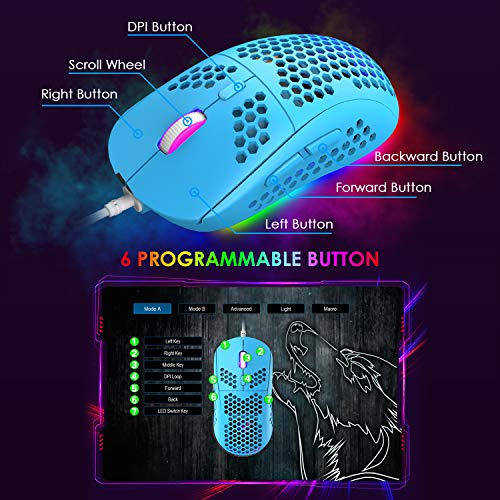 Gaming Keyboard and Mouse Combo,88 Keys Compact Rainbow Backlit Mechanical Feel Keyboard,RGB Backlit 6400 DPI Lightweight Gaming Mouse with Honeycomb Shell for Windows PC Gamers (Blue)