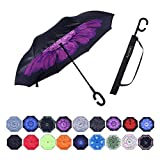 Umbrella,Large Double Layer Inverted Big C-Shaped Handle Reverse Long Umbrellas (purple flower)