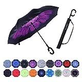 Umbrella,Large Double Layer Inverted Big C-Shaped Handle Reverse Long Umbrellas (purple flower)