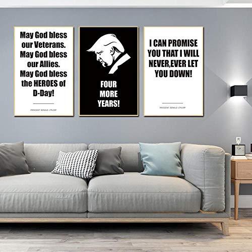 ZGZART Póster de Arte de Dibujos Animados Donald Trump Retrato Lienzo Pintura Impresiones Presidente campaña imágenes para Sala de Estar decoración de la Pared del hogar -40x60cmx3 (sin Marco)