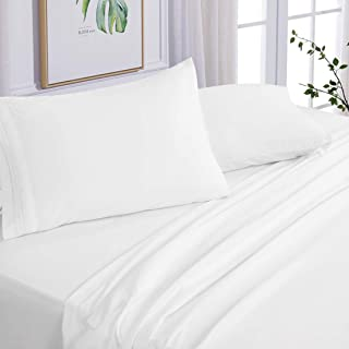 Edilly Hotel Luxury Queen Bed Sheet Set 4 Piece - Ultra Soft Microfiber 1800 Series Bedding Deep Pocket Hypoallergenic Wrinkle & Fade Resistant (White, Queen)