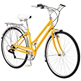 Schwinn Wayfarer Adult Bike Hybrid Retro-Styled Cruiser, 16-Inch/Small Steel Step-Through Frame, 7-Speed Drivetrain, Rear Rack, 700C Wheels, Yellow