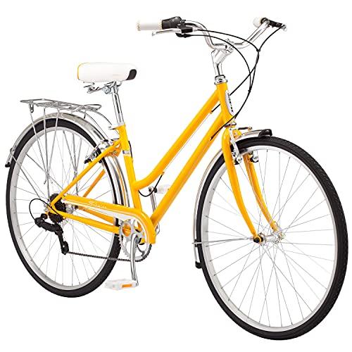 Schwinn Wayfarer Volwasse Fietsbaster Retro-styl Cruiser, 16-duim / klein staal-deurstel, 7-gang-aandrywing, agterrak, 700C-wiele, geel