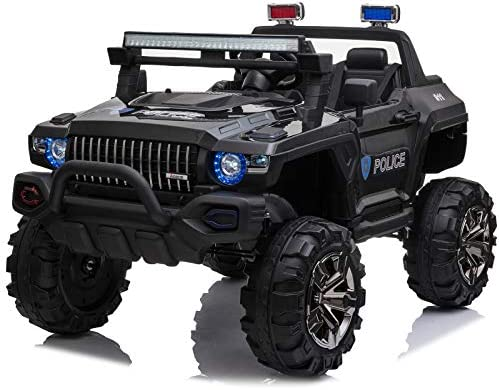 Aosom 12V Kids Electric 2 Seater Ride On Police Car SUV Truck Toy with Parental Remote Control product image