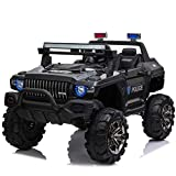 Aosom 12V Kids Electric 2-Seater Ride On Police Car SUV Truck Toy with Parental Remote Control, Black
