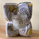 Sleepytime Elephants Anti-Pill No-Sew Throw Fleece Fabric Kit (50x60)
