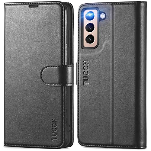 TUCCH Wallet Case for Galaxy S21 5G, [TPU Shockproof Interior Case] Folio Kickstand [RFID Blocking] Card Slot, Magnetic PU Leather Protect Folio Cover Compatible with Galaxy S21 5G 6.2-Inch, Black