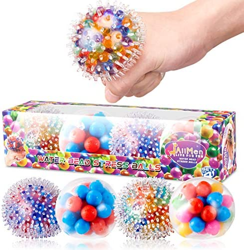 JAiiMen Water Bead Stress Relief Ball for Kids and Adults Squeeze Squishy Ball Toy Alleviate product image