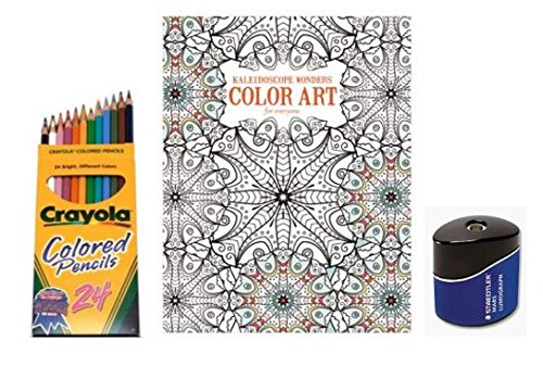 Price comparison product image Leisure Arts Stress Relief Coloring Book Kit,  Reduces Daily Anxiety & Tension. Kaleidoscope Designs and Patterns that Inspire Creativity & Sharpen Brain! Relaxing Art Therapy,  Great Gift for Loved One