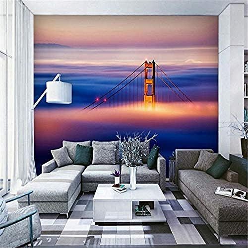 XHXI 3D Mural Wallpaper Custom 3D Wallpaper Magnificent Oil Painting Chain Bridge Living Room TV Hotel Decoration Backdr 3D Wallpaper Paste Living Room The Wall for Bedroom Mural border-150cm×105cm