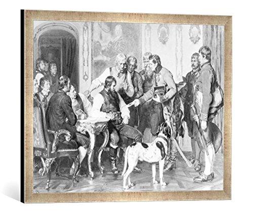 Gerahmtes Bild von Franz von Defregger Andreas Hofer in der Hofburg zu Innsbruck, Kunstdruck im hochwertigen handgefertigten Bilder-Rahmen, 70x50 cm, Silber Raya