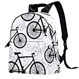 Leder-Rucksack, Schule, Uni, Büchertasche, Reisen, Büro, Laptop, Rucksack für Damen und Herren – Zeichnung Fahrrad Muster