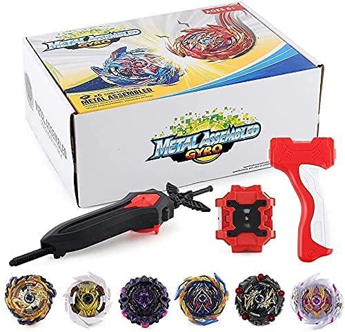 OBEST 1 Peonzas con Lanzador Fusión 4D Conjunto, 6 Burst Turbo Spinning Tops de Metal y 2 Launcher Juego de Batalla, Regalo Juguetes para Niños Adultos