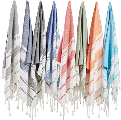 (SET of 8) Turkish Cotton Hand Face Head Guest Gym Towel Set Peshtemal Washcloth Kitchen Tea Towel Dish Cloth Set (MultiColor)