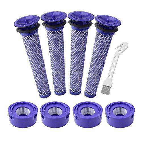 Paquete de 6 prefiltros y 2 paquetes de postfiltros de repuesto compatibles con accesorios para barredoras y aspiradoras inalámbricas Dyson V8 y V7 (Color: 8 piezas)